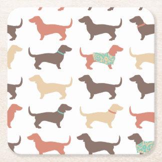 Fun Dachshund Dog Pattern Square Paper Coaster