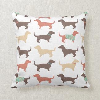 Fun Dachshund Dog Pattern Throw Pillow