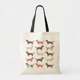 Fun Dachshund Dog Pattern Tote Bag