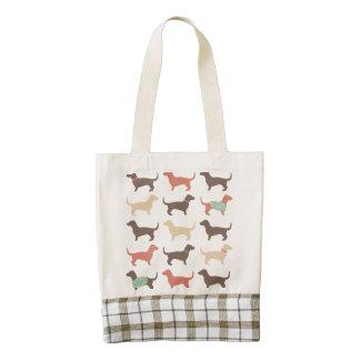 Fun Dachshund Dog Pattern Zazzle HEART Tote Bag