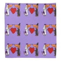 Fun Dachshund Dogs Bride and Groom Wedding Art Bandana
