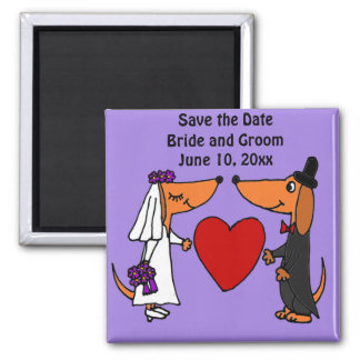 Fun Dachshund Dogs Bride and Groom Wedding Art 2 Inch Square Magnet