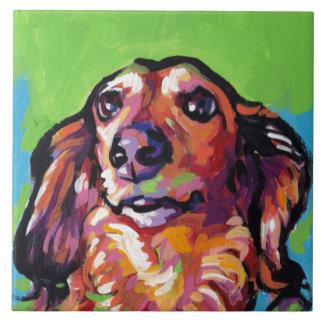Fun DACHSHUND doxie dog bright colorful Pop Art Ceramic Tile