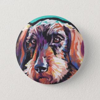 Fun DACHSHUND doxie dog bright colorful Pop Art Pinback Button
