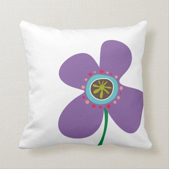 Fun Daisy Pop Purple Cute Spring Flowers Pattern Throw Pillow