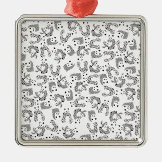 Fun Dancing Pandas Pattern Metal Ornament