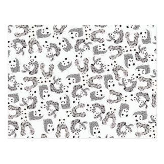 Fun Dancing Pandas Pattern Postcard