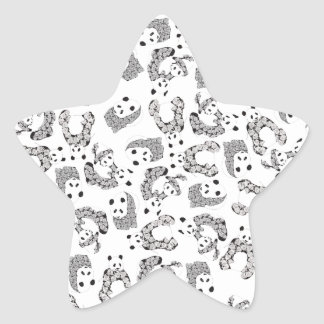 Fun Dancing Pandas Pattern Star Sticker