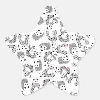 Fun Dancing Pandas Pattern Star Sticker