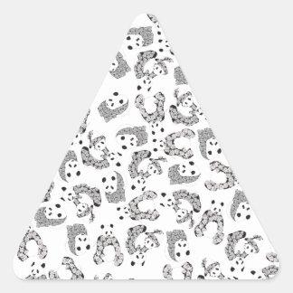 Fun Dancing Pandas Pattern Triangle Sticker