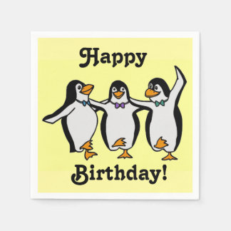 Fun Dancing Penguins Happy Birthday! Paper Napkin