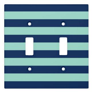 Fun Dark Blue and Seafoam Green Stripes Light Switch Cover