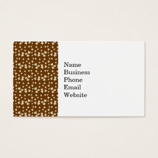 Fun Dark Brown and Linen Autumn Leaf Pattern Business Card