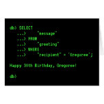 [ Thumbnail: Fun Database Query Happy Birthday Greeting Card ]