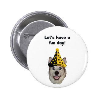 Fun Day Clown Dog Button