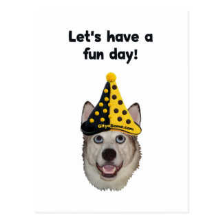 Fun Day Clown Dog Postcard
