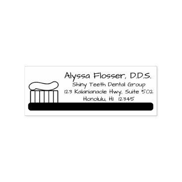 Professional Business Fun Dentist Custom Return Address Stamp Toothbrush