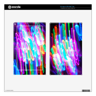 Fun design with vibrant colorful streaks of ligh kindle fire decals