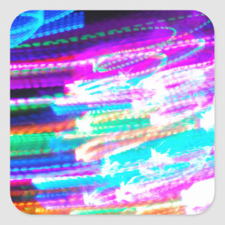 Fun design with vibrant colorful streaks of ligh square stickers