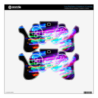 Fun design with vibrant colorful streaks of light PS3 controller skins