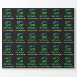 [ Thumbnail: Fun Digital Computing Themed 3rd Birthday Wrapping Paper ]