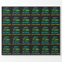 Fun Digital Computing Themed 70th Birthday Wrapping Paper