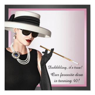 Fun Diva Womans Pink and Black 40th Birthday 5.25x5.25 Square Paper Invitation Card