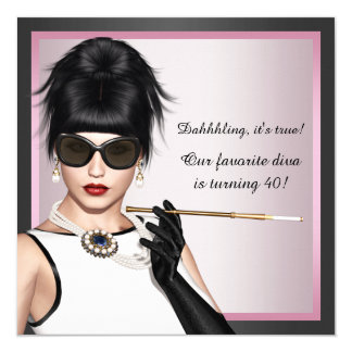 Fun Diva Womans Pink and Black Birthday 5.25x5.25 Square Paper Invitation Card