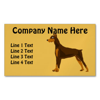 Fun Doberman Pinscher Dog Art Business Card Magnet