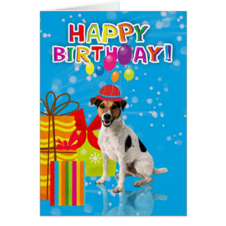 fun dog birthday card, dog is wearing a party hat greeting card
