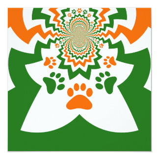 Fun Dog Lovers Puppy Paw Prints Chevron Pattern Card