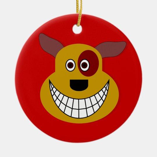 Fun Dog With A Big Grin Ceramic Ornament