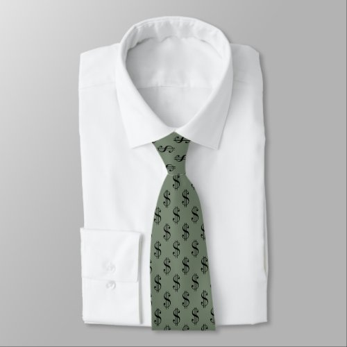 Fun Dollar Signs Pattern on Khaki Green Neck Tie
