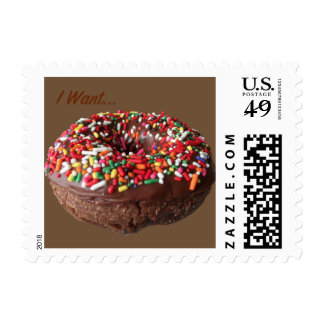 Fun Donut Postage Stamps Chocolate Sprinkle