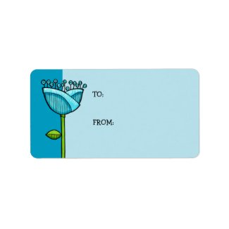 Fun Doodle Flowers blue Gift Tag label