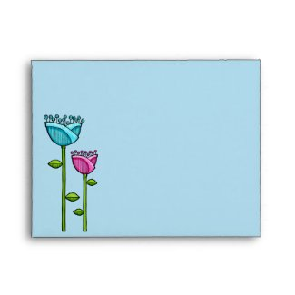 Fun Doodle Flowers blue pink A2 Note Card Envelope envelope