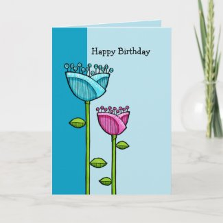 Fun Doodle Flowers blue pink Birthday Card card
