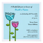 Fun Doodle Flowers blue pink Bridal Shower Personalized Invites