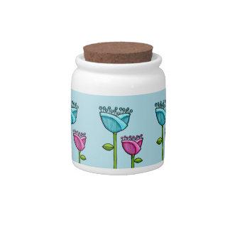 Fun Doodle Flowers blue pink Candy Jar
