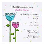 Fun Doodle Flowers blue pink dots Bridal Shower Custom Invitations