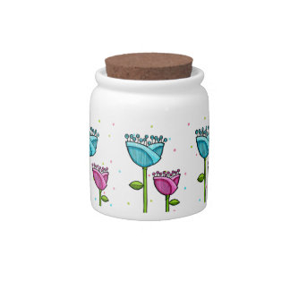Fun Doodle Flowers blue pink dots Candy Jar