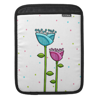 Fun Doodle Flowers blue pink dots iPad Sleeve