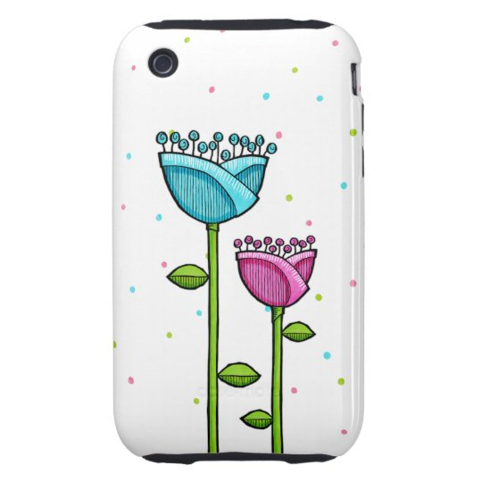 Fun Doodle Flowers blue pink dots iPhone 3G/3GS iPhone 3 Tough Cover