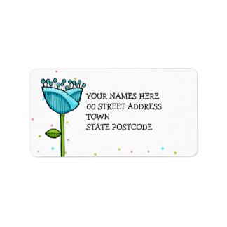 Fun Doodle Flowers blue pink dots Label