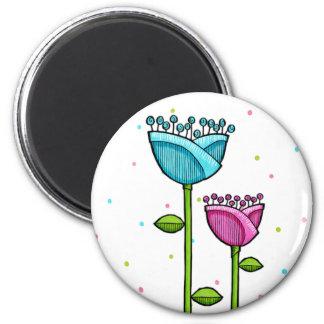 Fun Doodle Flowers blue pink dots Magnet