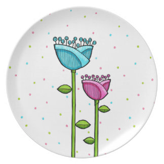 Fun Doodle Flowers blue pink dots Plate