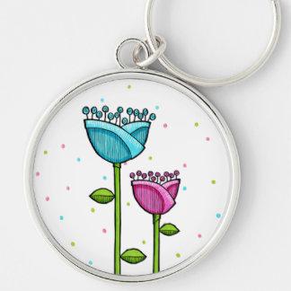 Fun Doodle Flowers blue pink dots Premium Keychain
