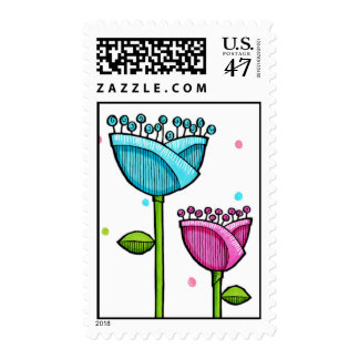Fun Doodle Flowers blue pink dots Stamp