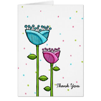 Fun Doodle Flowers blue pink dots Thank You card