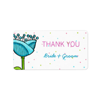 Fun Doodle Flowers blue pink dots Thank You Label